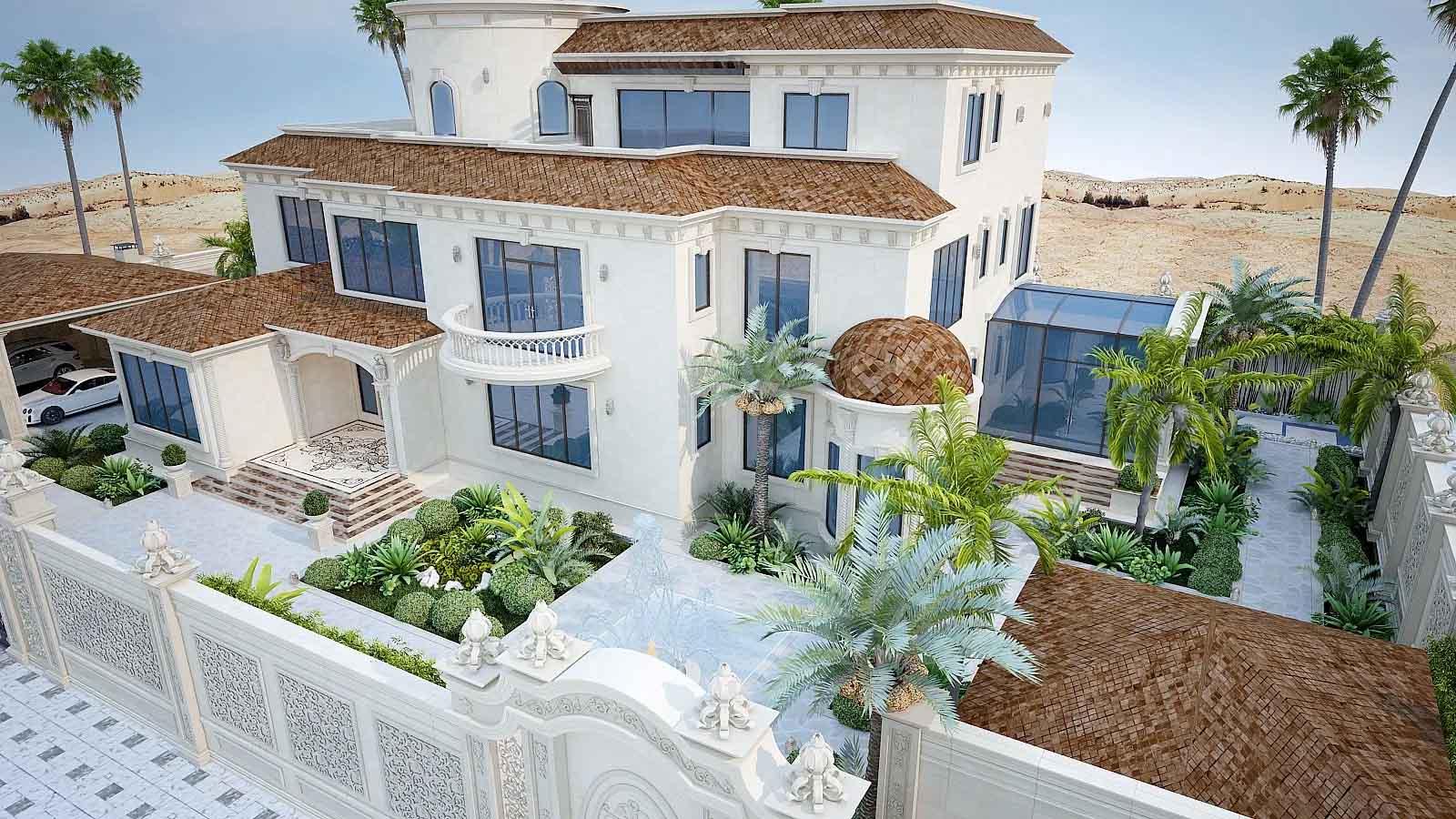 thiết kế biệt thự phong cách Trung Đông
