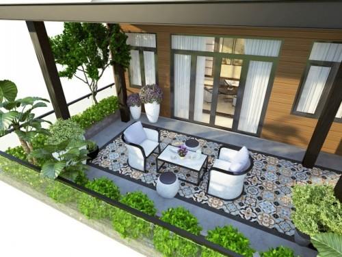 Vườn sân thượng nhiều cây xanh giúp giảm nhiệt cho các phòng bên trong. Gia chủ có thể thiết kế thêm những khu vườn mini tượng tự bên hông nhà.